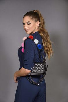 Short bag strap with colorful mink pompoms