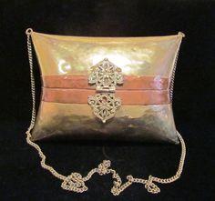 1930's Brass & Copper Pillow Purse Wedding Formal Shell Evening Bag
