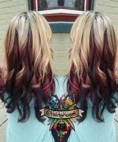 blonde burgundy black multi tone dyed hair inspiration @hairbykaseyoh