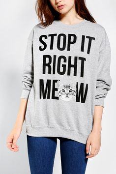 Stop It Meow Pullover Sweatshirt - Urban Outfitters