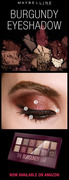 Get prom ready this spring with the NEW Maybelline Burgundy Bar palette! Expertly curated with 12 burgundy-infused shades, our Burgundy Bar Eyeshadow Palette is the BEST way to warm up to a new eye makeup look. From shimmers + matte shadows you can easily create a custom burgundy eye look. Available only Amazon!