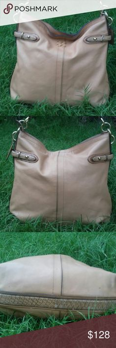 "Coach Hobo Beautiful buttery caramel leather hobo with zip top featuring snake print strap. Couple little spots on exterior as pictured (pic 3) and some stains inside. Strap drop is 8"". Can be extended a little longer. 14x14x3 Coach Bags Hobos"