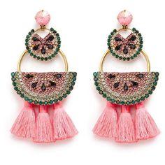 Elizabeth Cole 'Watermelon Chandeliers' Swarovski crystal tassel drop... ($452) ❤ liked on Polyvore featuring jewelry, earrings, metallic, boho jewelry, stud earrings, tassel charms, drop earrings and swarovski crystal earrings