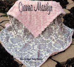 Dynasty Minky Blanket - Grey Dynasty-Baby Pink Minky Swirl-Personalized-Baby Blanket-Damask Blanket-Toddler-Stroller-Baby Girl by grinsandgigglesbaby on Etsy https://www.etsy.com/listing/170027329/dynasty-minky-blanket-grey-dynasty-baby