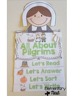 Pilgrims flip book- November Resources and two FREEBIES to use in November for primary classrooms- fall activities
