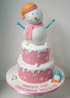 Snowman Cake For a 1 Year Old