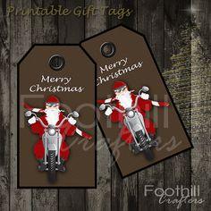 INSTANT DOWNLOAD - 12 Biker Santa Gift Tags - 1.5 x 2 7/8 - Printable Digital…
