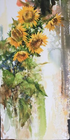 Daum 블로그 - 이미지 원본보기 Watercolor Pictures, Watercolor Paintings, Watercolor Design, Watercolor Flowers, Sunflower Canvas Paintings, Sunflower Art, Fruit Painting, Flower Pictures, Beautiful Paintings