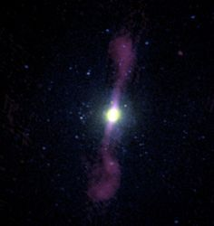 This image shows a composite view of the giant elliptical galaxy NGC 1399. The stellar component, as observed at optical wavelengths, is shown in white at the center of the image. The galaxy is embedded in a hot atmosphere of ionized hydrogen gas, which is shown in blue. With temperatures up to tens of millions of K, the hot gas shines brightly in X-rays and was observed using NASA's Chandra X-ray Observatory.