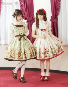 Innocent World: Fairy Tail Print Square Neck Jumperskirt in greenxchocolate and beigexred