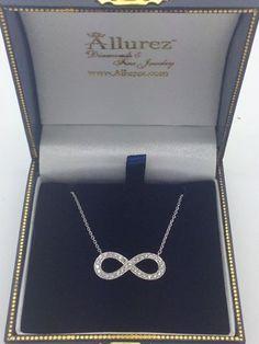 Pave-Set Diamond Infinity Pendant Necklace 14K White Gold (0.20ct) -  Allurez.com