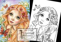 Digital Stamp, Printable, Instant download, Digi stamp, Coloring page, Art of Janna Prosvirina by Jannafairyart on Etsy Coloring Books, Coloring Pages, Create Collage, Fairs And Festivals, White Image, Fairy Art, Digi Stamps, Craft Fairs, Great Artists