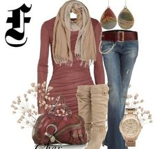winter fashion 2013 plain long sleeve with scarf and funky earrings