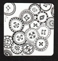 button zentangle by Shelly Beauch (Michele Beauchamp CZT) teaching Zentangle in Tasmania Australia