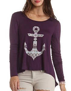 Rhinestone Anchor Graphic Top: Charlotte Russe