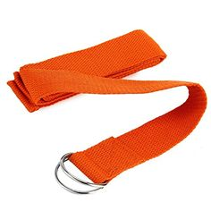 6ft Professional Yoga Stretch Strap Training Belt Waist Leg Fitness Exercise Gym Made with 100 Cotton  Metal DRing Orange >>> More info could be found at the image url.
