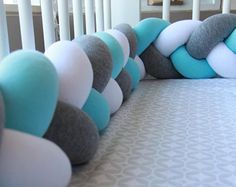 Mixed Colours Braided Crib Bumper - Knot Pillow, Knot Cushion, Bolster Pillow, Crib Bumper, Kids Pillow, Nursery Decor, Baby Bedding, Cot