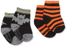 Carter's Hosiery Baby-boys Newborn 2 Pack Halloween Bat Booties, (baby socks)