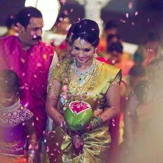 South Indian bride. Diamond Indian bridal jewelry. Jhumkis.green kanchipuram sari.Braid with fresh jasmine flowers. Tamil bride. Telugu bride. Kannada bride. Hindu bride. Malayalee bride.Kerala bride.South Indian wedding