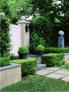 box hedges, lovely lantern, green & gray