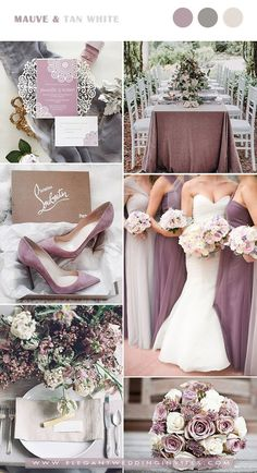 mauve and tan white elegant wedding color combos