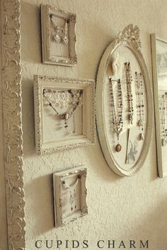An old picture frame can be reused as a jewelry organizer that can