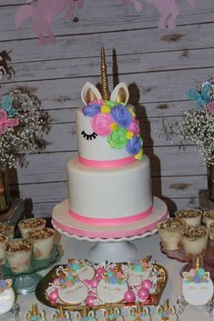 Check out the pretty birthday cake and cookies at this Unicorn Birthday Party!! See more party ideas at CatchMyParty.com #unicorn #cake #cookies