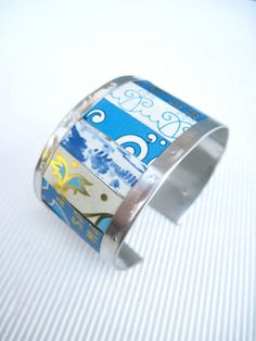 Blue Mixed Tin Cuff10th AnniversaryTin Can by eaststreettins, $44.00