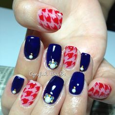 .@cynfulnails | Red houndstooth prints!  #cutenails #sgnails #manicure #nails #nailart #nailp... | Webstagram