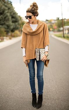 I like how this is a clean, casual look. The sweater looks long and I like the undershirt as well
