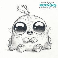 Chris Ryniak - morning scribbles - cute and funny art Cute Monsters Drawings, Cartoon Monsters, Cute Cartoon Drawings, Little Monsters, Art Drawings Sketches, Cartoon Art, Monster Sketch, Doodle Monster, Monster Drawing