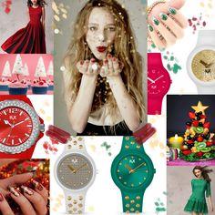 """Natale è vicino! Idee in rosso, verde, bianco e oro per le feste.   Gli orologi H2X ONE STUDS sono orologi gioiello dal prezzo piccolissimo, con il cinturino regolabile, realizzato in silicone di alta qualità e cover intercambiabile, ad alta impermeabilità, in mille colori e versioni moda, anche con borchie e brillantini. Il modello in rosso è H2X REEF LADY: silicone colorato con anima in metallo, anche in versione """"Clear Stones"""" con cristalli naturali sulla ghiera!"""