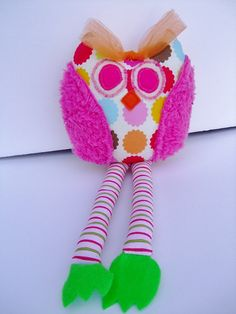 Whimsical Owl Stuffed Owl Toy Rattle Baby Toy by OurPlaceToNest, $17.00