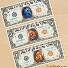 FREE Finding Nemo and Dory printable play money