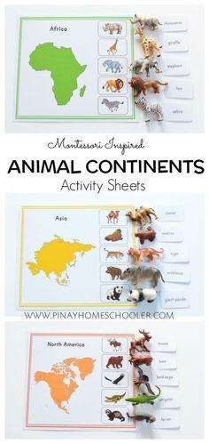 Animal continent sheets. Aun mejor situando cada continente en el mapamundi