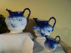 "Wheeling Potteries C 1893 Labelle 8"" 7"" 4"" Matching Flow Blue Pitchers | eBay"
