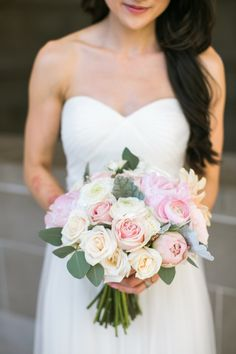 Classic pink rose + peony bouquet: http://www.stylemepretty.com/little-black-book-blog/2016/06/08/sweet-elegance-san-francisco-city-hall-wedding/   Photography: Jasmine Lee Photography - http://jasmineleephotography.com/