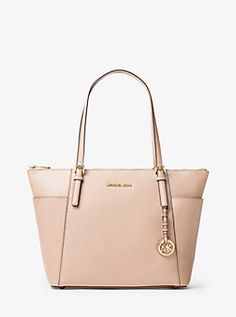 Jet Set Large Top-Zip Saffiano Leather Tote