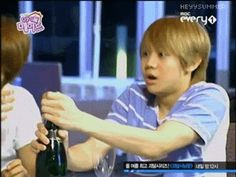 """{gif} fave Beast/B2st moment: when Yoseob decided to be all manly and pop the champagne cork, but instead ended up scaring himself when it flew out >.< #cutiepie #letmehugyou "" B2ST/ BEAST"