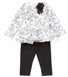 Baby Girls 12-24 Months Floral Tunic  amp  Pindotted Leggings Set  neckline  cba799b1f23b