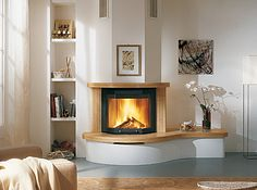 fireplace with attached bench/table Home Fireplace, Fireplace Design, Interior Concept, Wood Burner, Storage Design, Modern Kitchen Design, Home Hacks, Decor Interior Design, Interior Inspiration