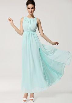 Minty Blue Chiffon Maxi Dress
