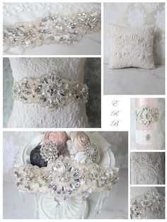 Bella  Hand beaded crystal and pearl embroidered lace adorned on French Ivory imported lace.