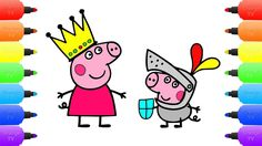 Peppa Pig Princess George Knight - Drawing and Coloring Book for Kids Le...