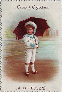 Trade card Cacao A. Driessen with boy in sailor suit and umbrella