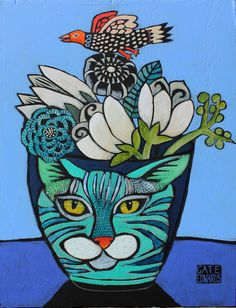 cat pot with bird | Explore cate edwards' photos on Flickr. … | Flickr - Photo Sharing!