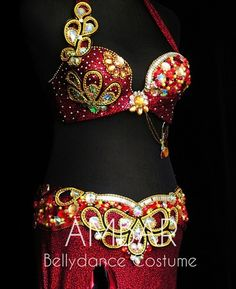 Red bedlah with gold beading. Belly Dance Bra, Belly Dance Costumes, Beading, Suits, Red, Clothes, Beautiful, Instagram, Design