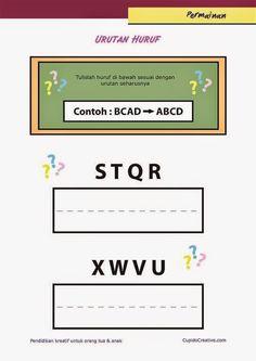 belajar sambil bermain untuk paud (balita/TK), menyusun urutan huruf A-Z
