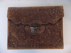 RARE! 1800s Antique Victorian Hand Tooled Leather Lap or Traveling Desk w/ Pen