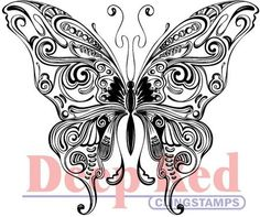 Deep Red Stamps Butterfly Swirl - Cling Rubber Stamp - 123Stitch.com
